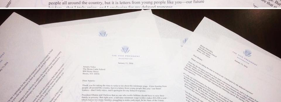 Bronx Latin 12th Grade Civics Students recieve phone call from the White House and letters from Vice President Joe Biden!
